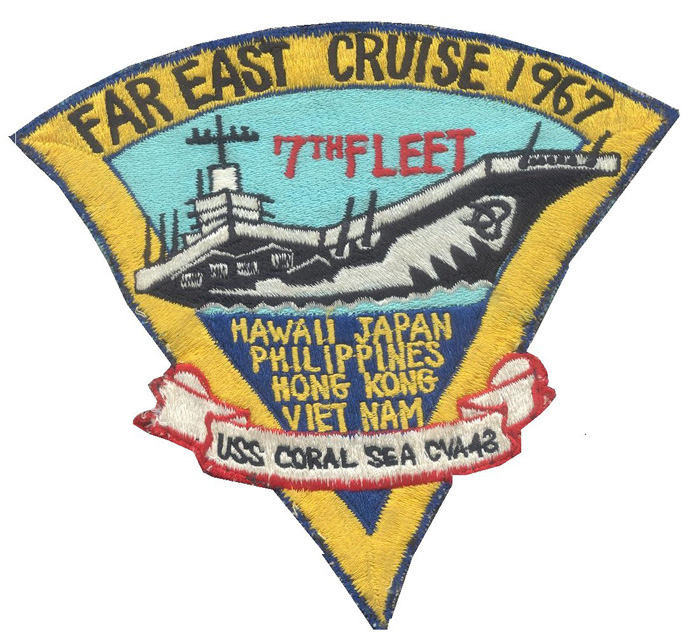 ' ' from the web at 'http://www.usscoralsea.net/images/1967cruisepatchronunk.jpg'