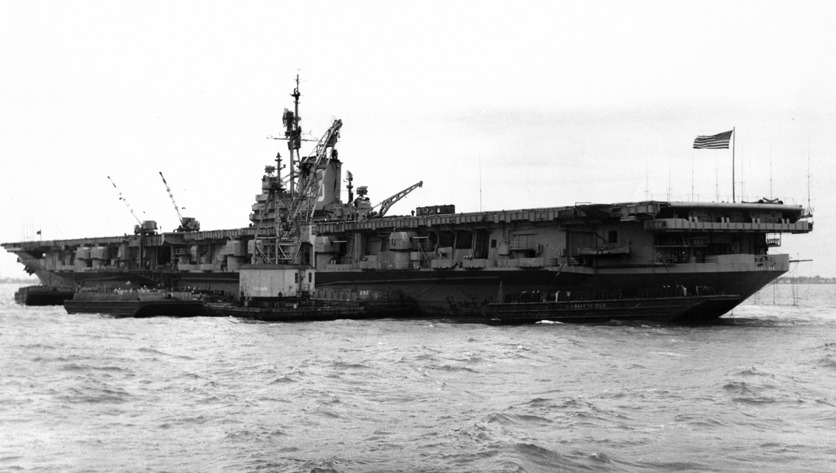 'Hi Resolution Photo Click Here' from the web at 'http://www.usscoralsea.net/images/CSEA1Oct5-1948.jpg'