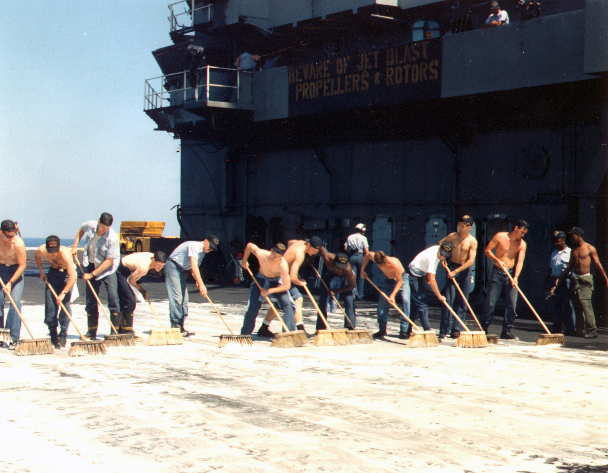 'Hi Resolution Photo Click Here' from the web at 'http://www.usscoralsea.net/images/cv431979scrubdownCD1.jpg'