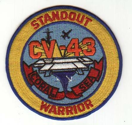' ' from the web at 'http://www.usscoralsea.net/images/cv43patch4.jpg'