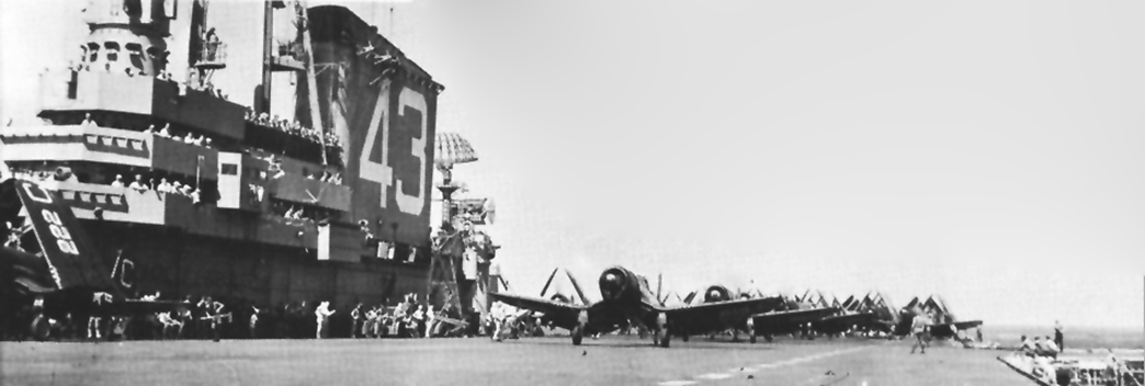 ' ' from the web at 'http://www.usscoralsea.net/images/cvb431948F4U-4launch.jpg'