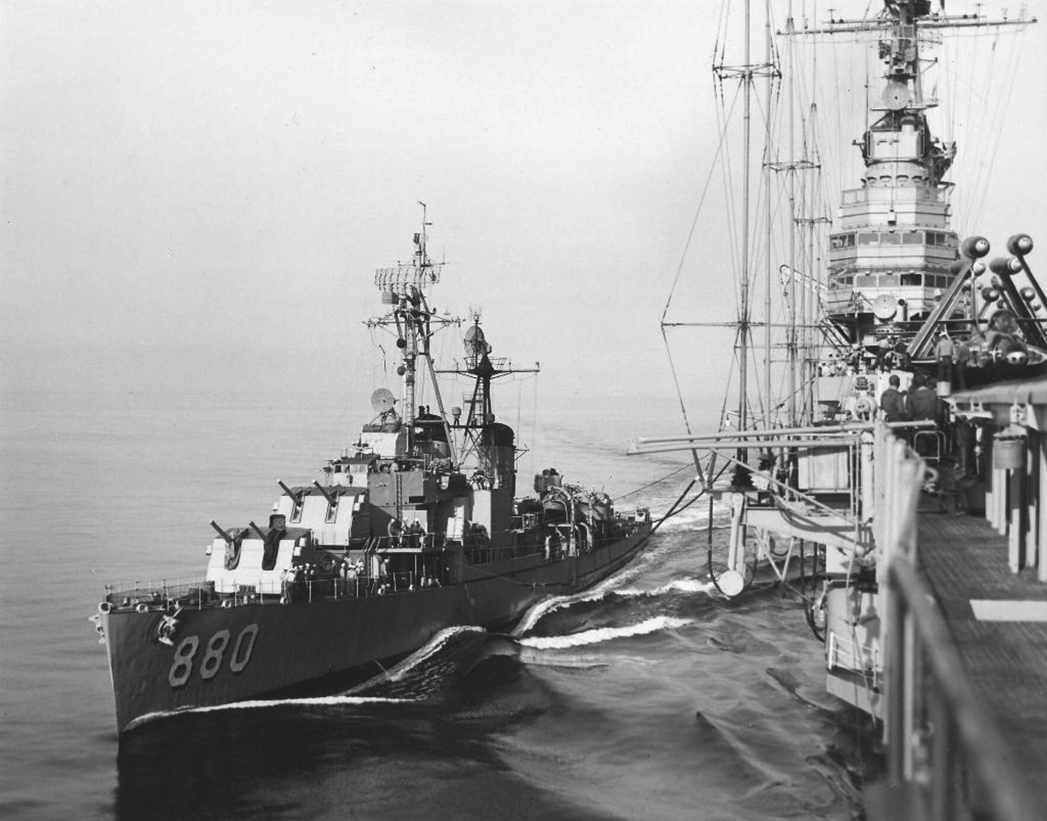 'Hi Resolution Photo Click Here' from the web at 'http://www.usscoralsea.net/images/cvb43USS_Dyess_DD-880_c1951.jpg'