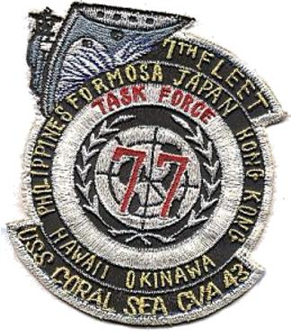 ' ' from the web at 'http://www.usscoralsea.net/images/patch1965tf77.jpg'