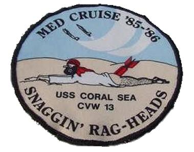 ' ' from the web at 'http://www.usscoralsea.net/images/patch8586rag.jpg'