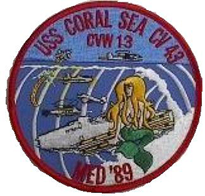 ' ' from the web at 'http://www.usscoralsea.net/images/patch89med.jpg'