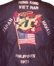 '[USS CORAL SEA TRIBUTE SITE]' from the web at 'http://www.usscoralsea.net/images/vtn_cruisejacket1973.jpg'