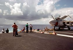 '[USS CORAL SEA TRIBUTE SITE]' from the web at 'http://www.usscoralsea.net/images/vtn_cv43119771001-22-steel_beachPMM.jpg'