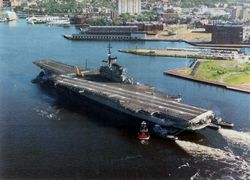 '[USS CORAL SEA TRIBUTE SITE]' from the web at 'http://www.usscoralsea.net/images/vtn_cv431990norfolk2.jpg'