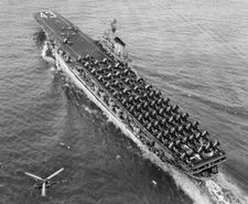 '[USS CORAL SEA TRIBUTE SITE]' from the web at 'http://www.usscoralsea.net/images/vtn_cvb431949portquarter.jpg'