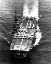 '[USS CORAL SEA TRIBUTE SITE]' from the web at 'http://www.usscoralsea.net/images/vtn_cvb431952underwaybowon.jpg'