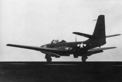'[USS CORAL SEA TRIBUTE SITE]' from the web at 'http://www.usscoralsea.net/images/vtn_web_cvb43FH-1Phantom1948trials2.jpg'