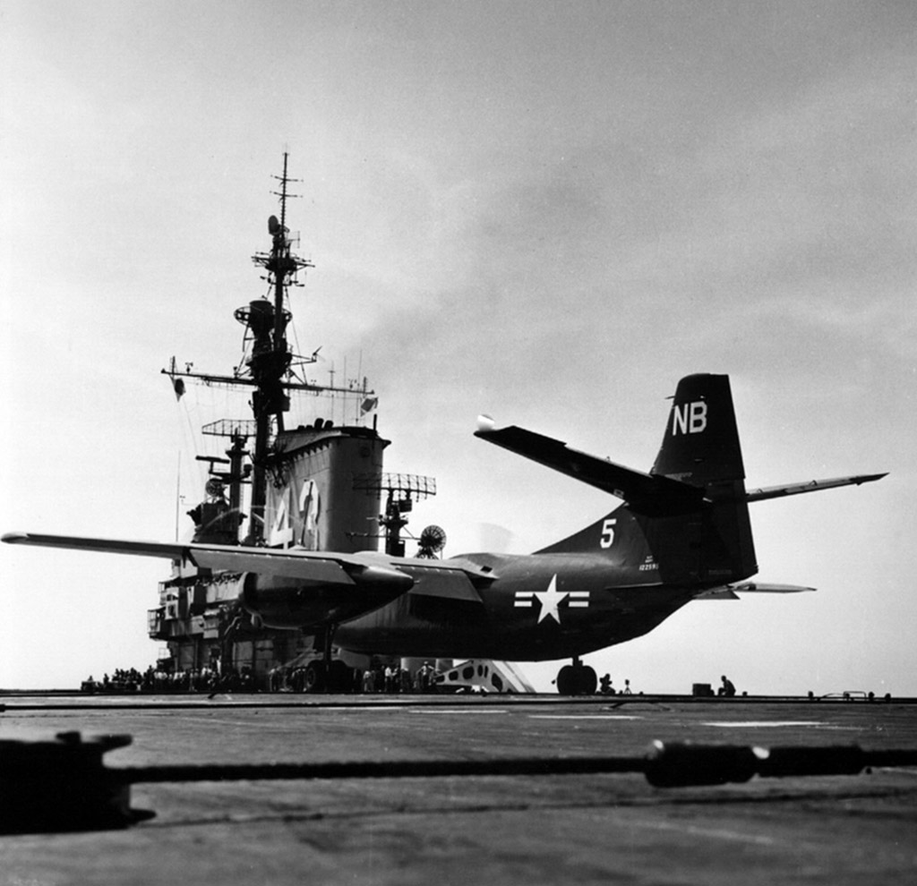 ' ' from the web at 'http://www.usscoralsea.net/images/web_cva43AJ-1Savage1954takeoff.jpg'