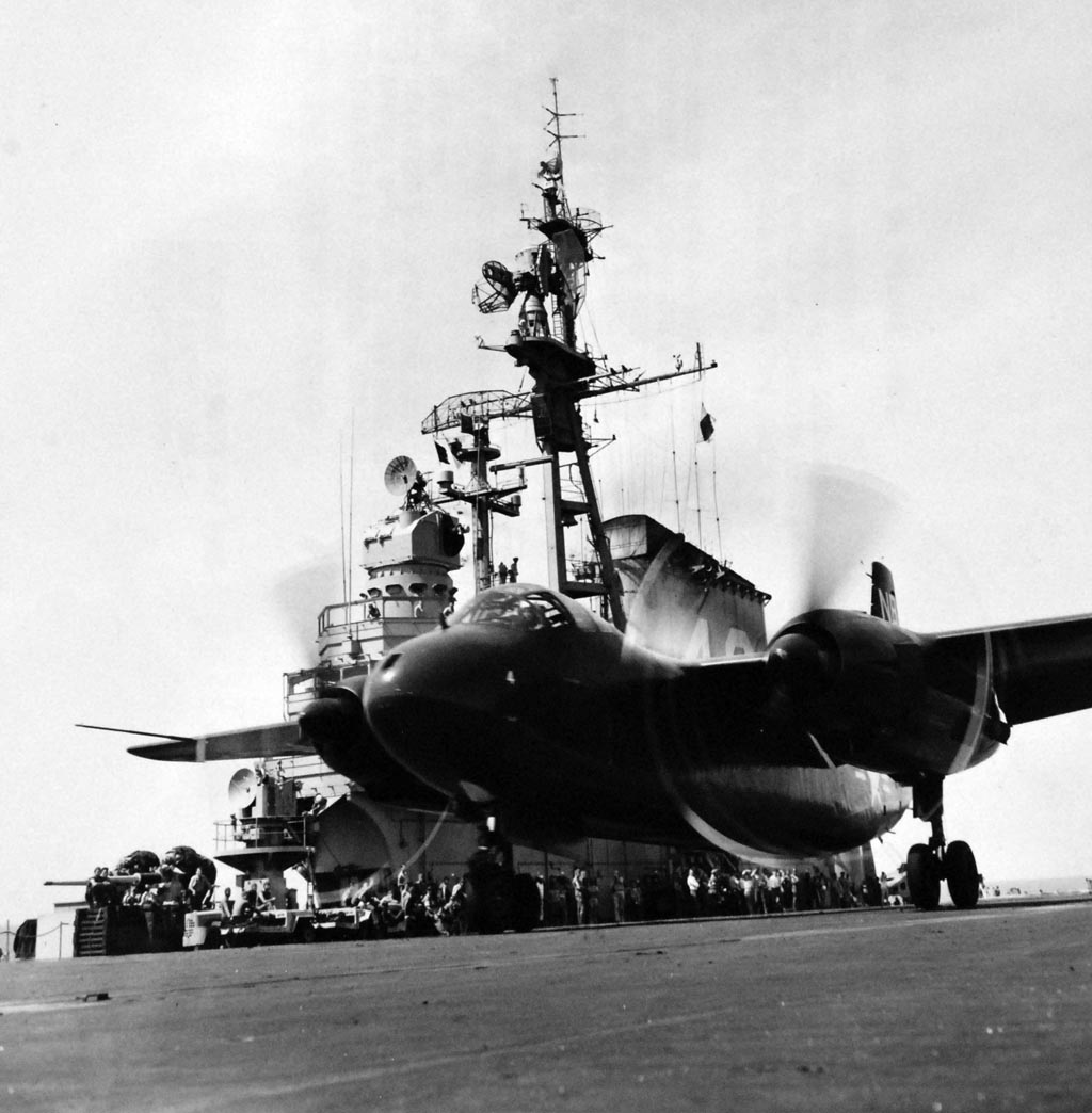 ' ' from the web at 'http://www.usscoralsea.net/images/web_cva43AJ-1Savage1954takeoff2.jpg'