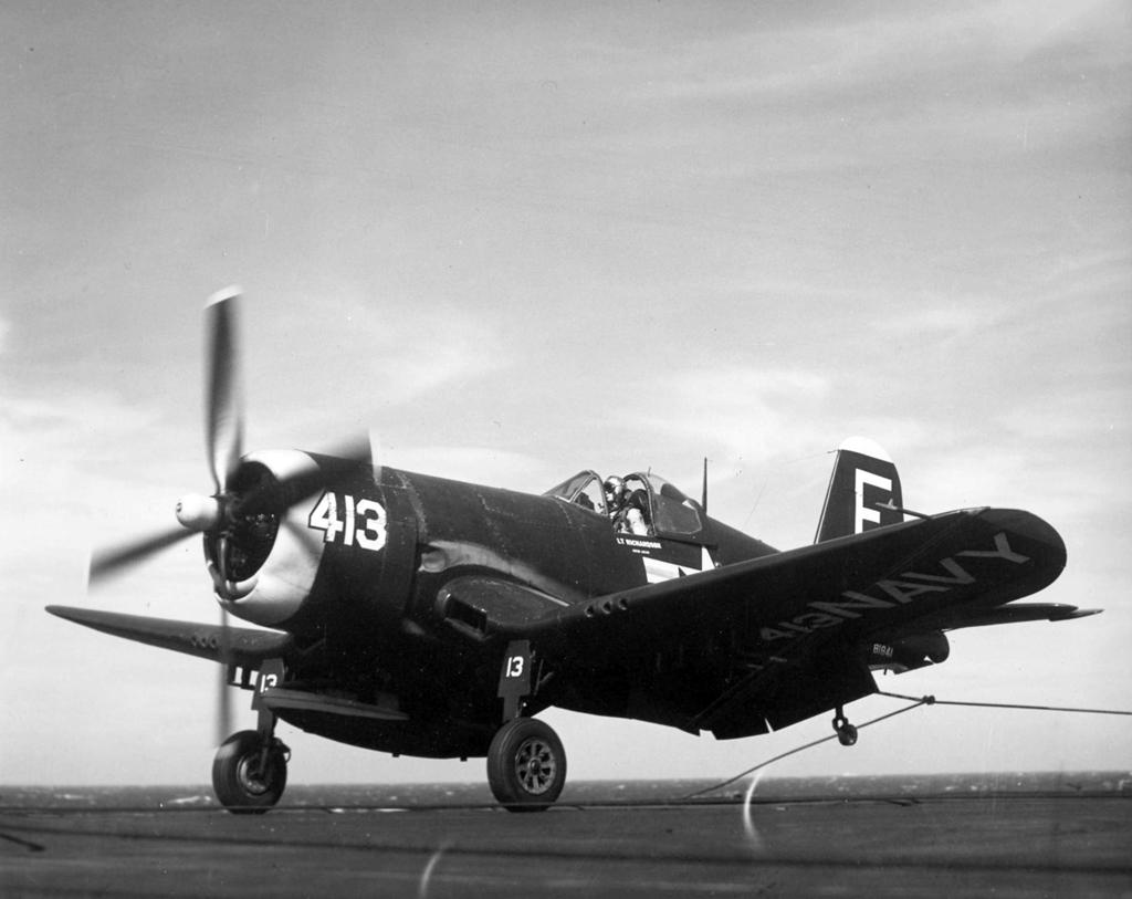 ' ' from the web at 'http://www.usscoralsea.net/images/web_cvb431952F4U-4VF-44trap.jpg'