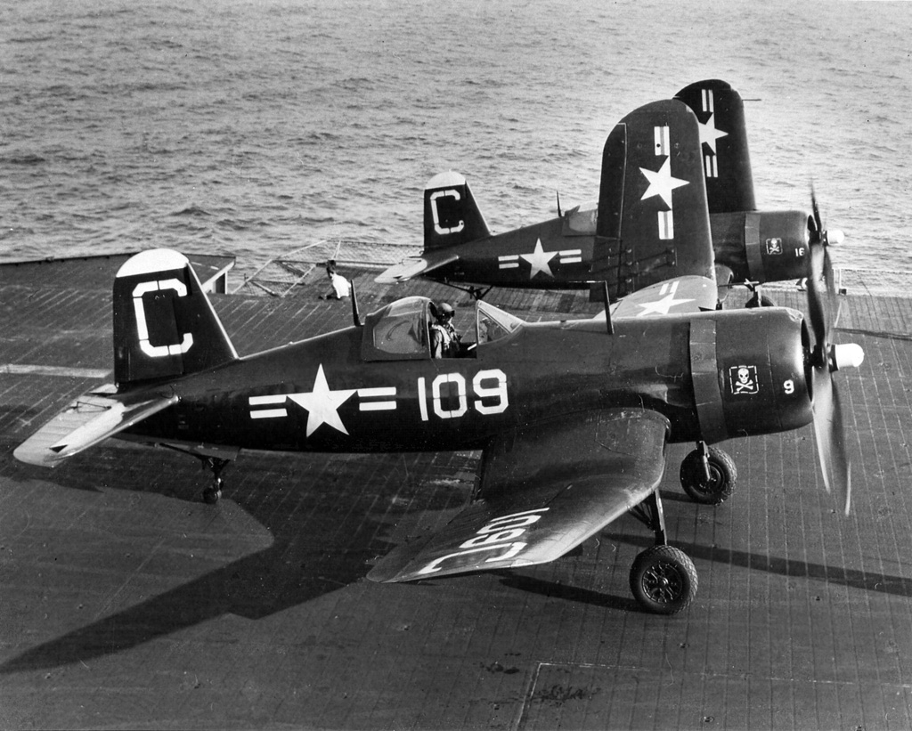 ' ' from the web at 'http://www.usscoralsea.net/images/web_cvb432F4U-4VA-5B1948.jpg'