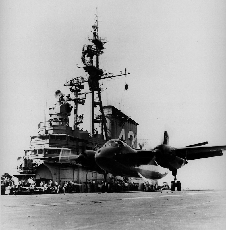 ' ' from the web at 'http://www.usscoralsea.net/images/web_cvb4342150first carrier launch of an AJ-1 Savage.jpg'