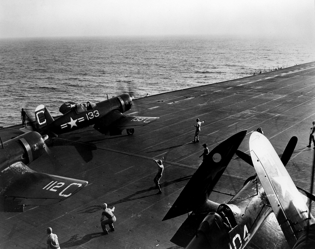 ' ' from the web at 'http://www.usscoralsea.net/images/web_cvb43F4Corsair19480304NNAM.jpg'